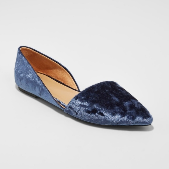 7d4360362fd6 a new day Shoes - NEW A NEW DAY D orsay Ballet Flats Blue Velvet